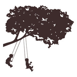 York Wallcoverings - Kids Swinging Brown Tree Wall Accent Self Stick Decal - Features: