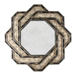Kathy Kuo Home - Eternal French Geometric Infinity Antique Gold Infinity Chain Mirror - The intertwining, geometric wood on this uniquely designed French country mirror gives it a modern feel, while the distressed, antiqued dual-color finish adds a vintage authenticity. An eye-catching infinity chain frames an octagonal mirror that's as beautiful as you will be looking into it. Also ideal for a modern industrial loft.