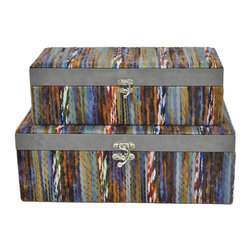 Fabric of Life Boxes - Set of 2 - Life is all about living in the moment, looking to the future and preserving memories from the past. Keep mementos in these sweet fabric storage boxes.