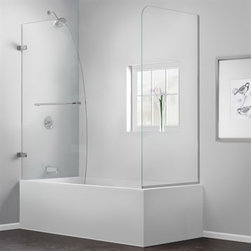 """Bath Authority DreamLine - Bath Authority DreamLine Aqua Uno Frameless Hinged Tub Door (56"""" - 60"""") with Ret - The AQUA UNO Tub Door with Return Panel creates a beautiful bathtub enclosure. A distinctive curved silhouette makes a statement and delivers an exquisite custom glass look. The single swing tub door is striking with sophisticated frameless glass that flows with any bathroom design. Choose the AQUA UNO Tub Door with Return Panel for a quenching dose of unparalleled style.Features 30"""" D x 56 to 60"""" W x 58"""" H 1/4"""" (6mm) thick clear tempered glass Chrome or Brushed Nickel finish hardware Frameless glass design No adjustment for out-of-plumb walls Single panel swing door Solid brass glass-to-wall hinges Easy to reach towel bar Consideration should be given to placement of showerhead, as this model does not provide wall-to-wall coverage Door glass panel width: 34-5/16"""" Door walk-in: 33"""" Return panel: 30"""" Reversible for right or left door opening installation Materials: Tempered Glass, Brass Tempered glass ANSI certifiedProduct Warranty: Limited 5 (five) year manufacturer warrantyNote: To minimize leakage, install shower head opposite of door opening aimed at tiled walls, fixed shower panel or floor Information regarding the return policy of your DreamLine(TM) product is available here. If you have any questions, please contact us before ordering.Installation Guide Technical Drawing View Spec Sheet"""