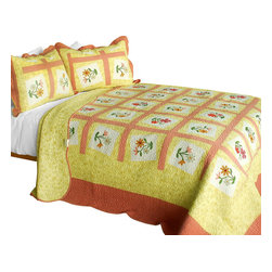 Blancho Bedding - [Woman's Fragrance] 3PC Cotton Contained Patchwork Quilt Set (Full/Queen Size) - Set includes a quilt and two quilted shams (one in twin set). Shell and fill are 100% cotton. For convenience, all bedding components are machine washable on cold in the gentle cycle and can be dried on low heat and will last you years. Intricate vermicelli quilting provides a rich surface texture. This vermicelli-quilted quilt set will refresh your bedroom decor instantly, create a cozy and inviting atmosphere and is sure to transform the look of your bedroom or guest room. Dimensions: Full/Queen quilt: 90 inches x 98 inches  Standard sham: 20 inches x 26 inches.