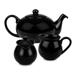 Waechtersbach - Fun Factory Tea Set, Black - Brighten up your kitchen table with this Fun Factory Black Tea Set. With its vibrant color and contemporary shape, this set will bring fun and joy into your home. Full tea service includes sugar bowl with lid, creamer, and tea pot with lid.