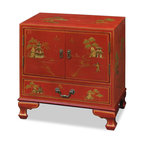 """China Furniture and Arts - Chinoiserie Scenery Design Lamp Table - Magnificent and rich in gold. Hand-painted scenery in gold Chinoiserie motifs on rich satin red finish. Design continues on top and sides on the cabinet. One felt-lined drawer (21.25""""W x 13.25""""D x 3.75""""H interior) and two-door cabinet (23.25""""W x 15.75""""D x 23""""H interior) provide ample storage space. Perfect for great room or bedroom. Matching brassware."""