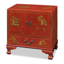"China Furniture and Arts - Chinoiserie Scenery Design Lamp Table - Magnificent and rich in gold. Hand-painted scenery in gold Chinoiserie motifs on rich satin red finish. Design continues on top and sides on the cabinet. One felt-lined drawer (21.25""W x 13.25""D x 3.75""H interior) and two-door cabinet (23.25""W x 15.75""D x 23""H interior) provide ample storage space. Perfect for great room or bedroom. Matching brassware."