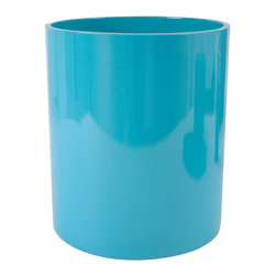 """Jonathan Adler - Jonathan Adler Round Lacquer Waste Basket Turquoise - Jonathan Adler's sophisticated waste basket energizes bathrooms with the designer's """"happy chic"""" aesthetic. Shiny and glamorous with its turquoise lacquer finish, this contemporary can keeps trash corralled in well-rounded style. 8.75""""D x 10""""H; Hand poured lacquer over resin"""