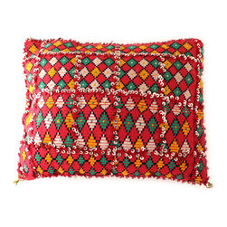 Diamond Grid Sequined Moroccan Pillow - Pattern play. This pillow features a design within a design. Mini diamonds are boxed inside sequined frames that give it just the right amount of sparkle. Each is made from a vintage Moroccan Berber rugs to give your interiors a global perspective.