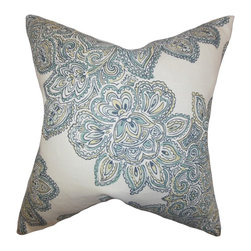 """The Pillow Collection - Haldis Floral Pillow Sea Green 18"""" x 18"""" - Create a spring-inspired theme in your home by adding this fancy accent pillow. This throw pillow features a bold floral pattern in shades of sea green, yellow and white. Dress up your sofa, bed or chair by tossing this indoor pillow. Made of high-quality 100% linen material and crafted in the USA."""