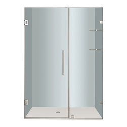 """Aston - Aston Nautis GS 49x72, Completely Frameless Hinged Shower Door, Chrome - Utility meets luxury with the Nautis GS completely frameless hinged swinging shower door. Available in a multitude of dimensions - from 36"""" to 60"""" in width (72"""" height) - the Nautis GS consists of a fixed glass panel with a built-in two-tier shelf storage system and a hinged swinging glass door panel. All Nautis GS models feature 10mm ANSI-certified clear tempered glass, stainless steel or chrome finish hardware, self-closing hinges, premium leak-seal clear strips and is engineered for reversible left or right hand installation. Includes a 5 year limited warranty; base not included."""
