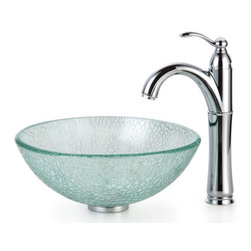 "Kraus - Kraus C-GV-500-14-12mm-1005CH Broken Glass 14"" Vessel Sink and Riviera Faucet - Add a touch of elegance to your bathroom with a glass sink combo from Kraus"