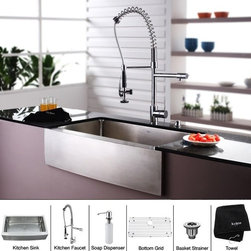 Kraus - Stainless Steel Farmhouse Kitchen Sink Faucet / Dispenser - Add an elegant touch to your kitchen with unique Kraus kitchen combo