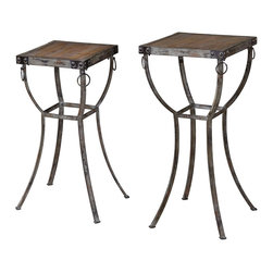 """Uttermost - Uttermost Hewson Plant Stands Set of 2 24313 - Old world, rustic metal pedestals with rivet and ring details and deep grained, natural wooden tops. Sizes: Small -12""""W x 26""""H x 12""""D, Large - 16""""W x 32""""H x 16""""D"""