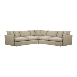 Lounge 3-Piece Sectional Sofa - Family-style informality shapes up with clean, modern lines in a luxe linen weave that's both practical and pampering. You can really curl up in Lounge's plush, roomy sectional pieces, combined just the way you want them. Includes five box throw pillows.
