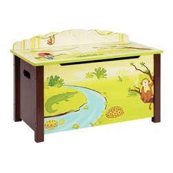 Guidecraft - Guidecraft Jungle Party Toy Box - G86904 - Shop for Childrens Toy Boxes and Storage from Hayneedle.com! Saying It's a jungle in there when talking about your child's playroom takes on a whole new meaning with the Guidecraft Jungle Party Toy Box. This adorable piece gives your child's bedroom or play area a spacious bench and a useful space to store their action figures stuffed animals blocks and more. The wooden toy box features a spacious interior safety-lid supports and cutouts to prevent finger pinching and comes in a colorful jungle theme with monkeys gators parrots turtles and more enjoying a sunny day on the riverbank. For ages 2 and up. Adult assembly is required.About GuidecraftGuidecraft was founded in 1964 in a small woodshop producing 10 items. Today Guidecraft's line includes over 160 educational toys and furnishings. The company's size has changed but their mission remains the same; stay true to the tradition of smart beautifully crafted wood products which allow children's minds and imaginations room to truly wonder and grow.Guidecraft plans to continue far into the future with what they do best while always giving their loyal customers what they have come to expect: expert quality excellent service and an ever-growing collection of creativity-inspiring products for children.
