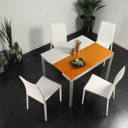 Creative Furniture - Orlando White and Orange Dining Set (Table and 4 Chairs) - Creative Furniture - Majestic Orlando White and Orange Dining Table is perfectly complemented by a quartet of stylish and comfortable Orlando White Dining Chairs to create an amazing Orlando White and Orange Dining Set (Table and 4 Chairs) - Creative Furniture. This massive table will easily seat a large family gathering around its stunning glass borders.Elegant white upholstered chairs sporting a flared, full length back with white finish off this set. This dining set may well be the perfect choice if you have a small or large and modern dining room and enjoy entertaining.
