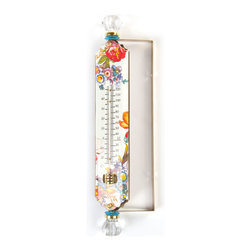 Flower Market Enamel Thermometer - White   MacKenzie-Childs - Heavy-gauge enamel thermometers with decorative accents. Designed to swivel for perfect positioning just outside your window. Best performance in a protected area.
