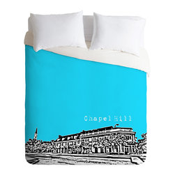 DENY Designs - Bird Ave Chapel Hill Blue Duvet Cover - Turn your basic, boring down comforter into the super stylish focal point of your bedroom. Our Luxe Duvet is made from a heavy-weight luxurious woven polyester with a 50% cotton/50% polyester cream bottom. It also includes a hidden zipper with interior corner ties to secure your comforter. it's comfy, fade-resistant, and custom printed for each and every customer.
