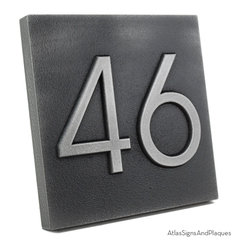 "Modern Advantage Home Numbers - No border 8"" x 8"" in Pewter Finish - We think the large very readable digits on the Modern Advantage Home Numbers Plaque will enhance the strong lines of your mid-century style home. Perfect for any structure with a strong presence that requires and can support bold accessories. Although not an exact match, the Advantage Book Font is very close to the Neutra Typeface and can make your address numbers a standout in the neighborhood."