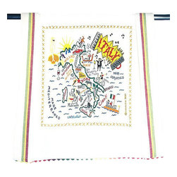 CATSTUDIO - Italy Dish Towel by Catstudio - This original design celebrates the Country of Italy.  This design is silk screened, then framed with ahand embroidered border on a 100% cotton dish towel/ hand towel/ guest towel/ bar towel. Three stripes down both sides and hand dyed rick-rack at the top and bottom add a charming vintage touch. Delightfully presented in a reusable organdy pouch. Machine wash and dry.
