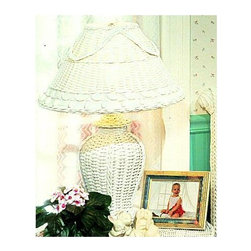 Spice Island Wicker - Classic Wicker Table Lamp & Shade - Bring a warm and enticing glow to a room with this table lamp.  The wicker base and shade are classically modeled with basket weaves, braids, and a loop-and-ball motif.  It will provide gentle lighting and add an elegant note to any space. * White finishFor indoor use only