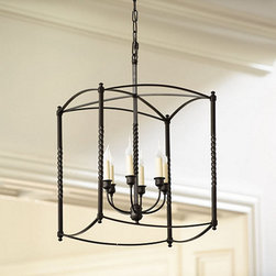 "Ballard Designs - Carriage House Chandelier - Extra Large - Handcrafted of steel with six candle arms. 6' hanging chain. 5"" Diam ceiling plate. A grand choice for an entry or dining area, this large chandelier has a distinctive square cage and twisted post design reminiscent of a late 18th century carriage lamp. The versatile design allows you to hang it as a traditional chandelier or semi-flush mounted for spaces where the ceiling height is lower.Carriage House Chandelier features:.  . ."