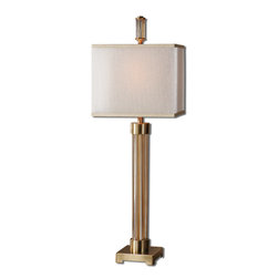 Uttermost - Moraira Amber Glass Buffet Lamp - Five Amber Glass Columns Accented With Coffee Bronze Plated Details And A Coordinating Finial. The Double Hardback Rectangle Shades Are A Golden Champagne Inner Shade With A Warm Champagne, Silken Sheer Outer Shade.