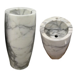 Handcrafted freestanding Statuario marble sink (Made in Italy) - KENYA SINK
