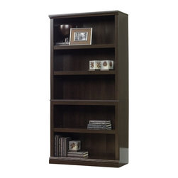 "Sauder - Sauder Storage Five Shelf Bookcase in Cinnamon Cherry Finish - Sauder - Bookcases - 410174 - This sturdy bookshelf is made of an environmentally friendly material called ""engineered wood"", a combination of high quality hard wood and soft wood materials which are residuals of other lumber processes. These materials are bonded together with a synthetic resin, then applied to high heat and pressure. The result is dense, strong panels which are then laminated and cut into pieces."