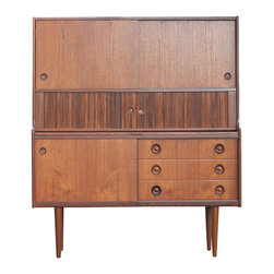 Danish Modern Teak Credenza or Hutch with Bar Table - The HighBoy, Harvey's On Beverly.