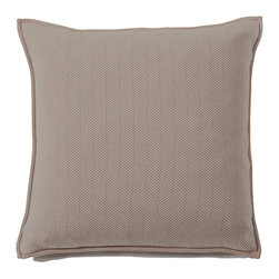 Rani Arabella - Rani Arabella Taupe Henry Cashmere Blend Pillow - A neutral color and subtle geometric design combine to give the Henry Cashmere Blend Pillow its clean, sophisticated look. Made from 70% cashmere and 30% wool, this pillow features a taupe and ivory herringbone pattern and banded edges. Pair it with transitional decor for a cohesive look. Includes a 50% down and 50% polyester insert. Dry clean only. Made in Italy.