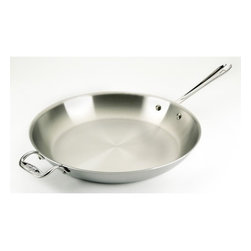 All-Clad - Stainless Steel Fry Pan - Sear, brown, and pan fry everything from eggs to meat with the All-Clad Stainless Steel Fry Pan. This pan's flat bottom and flared sides make it easy to toss food or turn it with a spatula. Its three-ply bonded stainless steel offers exceptional heating performance, even in induction cooking. Features: -Dishwasher safe.-Made in the USA.-Stainless collection.-Collection: Stainless.-Distressed: No.-Powder Coated Finish: No.-Gloss Finish: No.-Material: Stainless Steel; Aluminum.-Base Material: Stainless Steel.-Hardware Material: Stainless Steel.-Product Type: Frying Pan.-Shape: Round.-Non Toxic: Yes.-Scratch Resistant: No.-Rust Resistant: No.-Warp Resistant: No.-Chip Resistant: No.-Tarnish Resistant: No.-Stain Resistant: No.-Peel Resistant: No.-Nonreactive: Yes.-Non-Stick Surface: No.-Construction: 3-Ply.-Oven Safe: Yes.-Microwave Safe: No.-Dishwasher Safe: Yes.-Preseasoned: No.-Stove Type Compatibility: Gas; Electric; Halogen; Induction; Glass.-Handles: Yes -Number of Handles: 1.-Handle Material: Stainless steel.-Handle Finish: Stainless Steel.-Non-Slip Handle: No.-Heat Resistant Handles Detail: The handle becomes the same temperature as the oven, use a mit to handle. Stay cool handles are only for on top of the stove...-Outdoor Use: No.-Pouring Rims: No.-Recommended Utensil Material: Wood; Silicon; Rubber; Plastic; Stainless Steel; Aluminum; Copper.-Hanging: Yes.-Commercial Use: Yes.-Recycled Content: No.-Eco-Friendly: No.-Product Care: To avoid warping, never place a hot pan under cold water. Allow pan to cool prior to cleaning. For nonstick surfaces, wash with warm, soapy water after each use. For stainless steel surfaces, we recommend a nonabrasive and non-chlorine stainless steel cleanser. To clean the pan, immerse the pan in warm water. Form a paste with the stainless steel cleanser. Apply the paste using a soft cloth, rubbing in a circular motion from the center outwards. Wash in hot, soapy water and dry immediately to prevent water spotting. Nylon scrubbing pads can be used on the interior of All-Clad products. Use a sponge or soft cloth on exterior surfaces. Do not use oven cleaners, steel wool, steel scouring pads, harsh detergents or detergents containing chlorine bleach. To prevent water spotting, after washing, rinse in hot water and dry immediately..-Country of Manufacture: United States.Specifications: -NSF Approved: No.-FDA Compliant: Yes.-PTFE Free: Yes.-PFOA Free: Yes.Dimensions: -Overall Height - Top to Bottom (Size: 10-in.): 4.125.-Overall Height - Top to Bottom (Size: 12-in.): 4.375.-Overall Height - Top to Bottom (Size: 14-in.): 4.5.-Overall Height - Top to Bottom (Size: 8-in.): 2.87.-Overall Width - Side to Side (Size: 10-in.): 10.5.-Overall Width - Side to Side (Size: 12-in.): 12.5.-Overall Width - Side to Side (Size: 14-in.): 16.1.-Overall Width - Side to Side (Size: 8-in.): 8.6.-Overall Depth - Front to Back (Size: 10-in.): 18.25.-Overall Depth - Front to Back (Size: 12-in.): 20.75.-Overall Depth - Front to Back (Size: 14-in.): 24.625.-Overall Depth - Front to Back (Size: 8-in.): 15.-Diameter (Size: 10-in.): 9.87.-Diameter (Size: 12-in.): 11.875.-Diameter (Size: 14-in.): 14.-Diameter (Size: 8-in.): 7.5.-Internal Height (Size: 10-in.): 2.-Internal Height (Size: 12-in.): 2.-Internal Height (Size: 14-in.): 2.125.-Internal Height (Size: 8-in.): 1.62.Assembly: -Assembly Required: No.-Additional Parts Required: No.