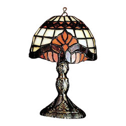 """Meyda Tiffany - Meyda Tiffany Lamps Table Lamp in Mahogany Bronze - Shown in picture: Baroque Micro Mini Lamp; 5""""""""H Baroque Micro Mini Lamp'Royal Scrolls Of Regal Red With Color-Coordinated Diamonds Adorn This Appealing Tiffany Styled Lamp. The Dome Shaped Shade Is Complemented With Beige And Orange Art Glass With A Base Finished In Mahogany Bronze."""