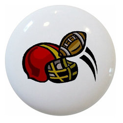 Carolina Hardware and Decor, LLC - Football Helmet Ceramic Knob - New 1 1/2 inch ceramic cabinet, drawer, or furniture knob with mounting hardware included. Also works great in a bathroom or on bi-fold closet doors (may require longer screws). Item can be wiped clean with a soft damp cloth. Great addition and nice finishing touch to any room!
