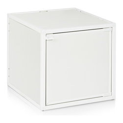 Way Basics - Way Basics Box Storage Cube Stackable, White - Want to add some flexibility into your life? These stackable, connectable storage cubes will help organize your space in almost any configuration you can dream up. Easy, tool-free assembly allows you to try out different arrangements and then change your mind at a whim. Made from recycled paper, the cubes are non-toxic and lightweight, yet super strong. Doors and wheels are available separately.