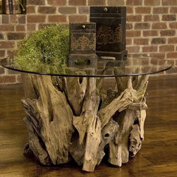 Uttermost - Driftwood Cocktail Table in Natural Teak - Made of wood. 36 in. W x 36 in. D x 20 in. HNatural, unfinished teak driftwood sculpted into a sturdy table with a clear glass top.
