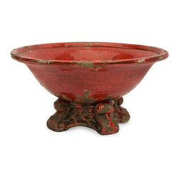 Pena Pedestal Bowl - The Pena pedestal bowl is highlighted with fiery, red color in a rustic style. This decorative ceramic bowl looks great in a variety of dcor!