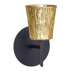 BESA Lighting - BESA Lighting 1SW-5125GF Nico 1 Light Halogen Bathroom Sconce - Nico 4 features a tapered drum shape that fits beautifully in transitional spaces. Our Stone Gold Foil glass is a clear blown glass with an outer texture of coarse sandstone, with distressed metal foil hand applied to the inside. Inspired by the elements of nature, the appearance of the surface resembles the beautiful cut patterning of a rock formation. This blown glass is handcrafted by a skilled artisan, utilizing century-old techniques passed down from generation to generation. Each piece of this decor has its own artistic nature that can be individually appreciated. The mini sconce is equipped with a decorative lamp holder mounted to either a low profile round or square canopy.Features: