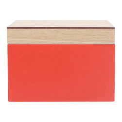 WOLF - Vaxholm Small Jewelry Box, Orange - The Vaxholm Small Jewelry box is perfect for storing  your jewelry and small items. This petite box comes in a variety of fresh and vibrant colors including green, orange, white, aqua, yellow, and dark blue. Each small Vaxholm jewelry box contains one open compartment and is finished with a lacquered wooden top.