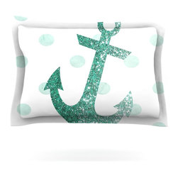 "Kess InHouse - Nika Martinez ""Glitter Anchor in Mint"" Teal Pillow Sham (Woven, 30"" x 20"") - Pairing your already chic duvet cover with playful pillow shams is the perfect way to tie your bedroom together. There are endless possibilities to feed your artistic palette with these imaginative pillow shams. It will looks so elegant you won't want ruin the masterpiece you have created when you go to bed. Not only are these pillow shams nice to look at they are also made from a high quality cotton blend. They are so soft that they will elevate your sleep up to level that is beyond Cloud 9. We always print our goods with the highest quality printing process in order to maintain the integrity of the art that you are adeptly displaying. This means that you won't have to worry about your art fading or your sham loosing it's freshness."