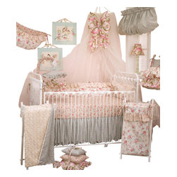 Cotton Tale Designs - Tea Party 7pc Crib Bedding Set - Tea Party 7 pc crib bedding collection by Cotton Tale Designs is a beautiful combination of soft vintage florals and rose faux fur.