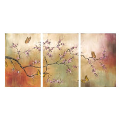 Stupell Industries - Pink Blossoms and Butterflys 17 x 33 Triptych Art - Made in USA. Ready for Hanging. Hand Finished and Original Artwork. No Assembly Required. 33 in L x .5 in W x 17 in H (5 lbs.)The newest sensation from The Stupell Home decor Collection is their oversized Triptych Wall Art.  Featuring original art, these large pieces (approx. 17 x 11 each) form one image spread over several panels.  It is the perfect oversized piece for your main walls.  Whether it is a cityscape, an abstract or a modern, there is something for everyone.  Edges are hand painted and they come with sawtooth hangers on the back for instant use.  MADE IN USA