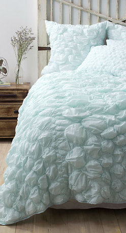 Catalina Quilt, Aqua - This pastel aqua bedding is so gorgeous. It looks like a giant cloud. What a perfect place to rest your head.