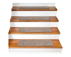 """Dean Flooring Company - Dean Tape Free Non-Slip Pet Friendly Carpet Stair Treads, Cache - Quality, stylish ultra premium stair gripper non-slip carpet stair treads by Dean Flooring Company. Extend the life of your high traffic hardwood stairs. Reduce slips/increase traction. Cut down on track-in dirt. Great for pets and pet owners. Made in the USA from quality, long lasting stain resistant 28 oz. plush soft carpeting with non-slip padded foam backing. Stands up great to high traffic. A fresh new look for your staircase. Do-it-yourself installation is quick and easy with our unique non-slip backing. Simply place your stair tread rugs on your staircase and go. No tapes, adhesives, staples, glue, or Velcro needed. And rest assured, they won't move and they won't damage your hardwood either. They are also simple and easy to remove as well with no sticky residue left behind. Each tread is finished on all four sides with attractive color matching binding tape. No bulky fastening strips. You may remove your treads for cleaning and re-attach them when you are done. Set includes 15 pieces. Each tread measures approximately 30"""" x 9"""". Add a touch of warmth and style to your stairs today with new stair treads from Dean Flooring Company! We make our own stair treads at Dean Flooring Company and our products are not available from anyone else."""