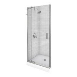 KOHLER - KOHLER K-702013-L-SH Purist Frameless Pivot Shower Door with Crystal Clear Glass - KOHLER K-702013-L-SH Purist Frameless Pivot Shower Door with Crystal Clear Glass in Bright Silver