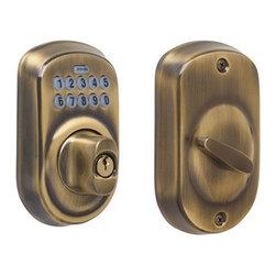 Schlage - Schlage Keypad Deadbolt, Antique Brass (BE365VPLY609) - Schlage BE365VPLY609 Keypad Deadbolt, Antique Brass