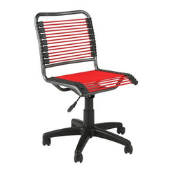 Apt2B - Charleville Office Chair Red/Graphite - What's the most comfortable shape for an office chair? How about one that molds to fit your own shape? Extra strong bungee cord loops are the secret: They stretch around you and help distribute your weight. They also give you plenty of air flow for hot days. A gas lift adjusts the chair to your height, and the seat curves at the end to allow for proper leg circulation. The chair swivels and even comes in fun colors.