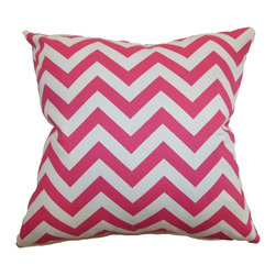 "The Pillow Collection - Xayabury Zigzag Pillow Candy Pink - Bring a playful spin to your living room, bedroom or lounge area with this cheerful zigzag pillow. This accent pillow features a punchy candy pink color and immaculate white background. The decor pillow is a perfect statement piece for your interior. This 18"" pillow is crafted with high-quality material which is made from 100% soft cotton fabric. Combine this square pillow with complementary shades and patterns for a lively decor style. Hidden zipper closure for easy cover removal.  Knife edge finish on all four sides.  Reversible pillow with the same fabric on the back side.  Spot cleaning suggested."