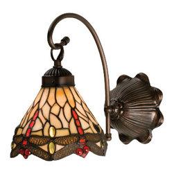 Meyda - 7 Inch W Tiffany Scarlet Dragonfly 1-Light Wall Sconces - Color theme: Beige flame mahogany bronze
