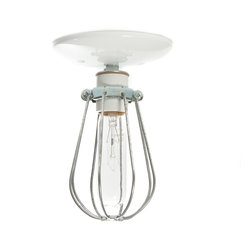 Industrial Light Electric - Wire Cage Ceiling Light, White, 60 Watt Tube Bulb - This Custom Made to Order Industrial Modern Cage Light comes with: