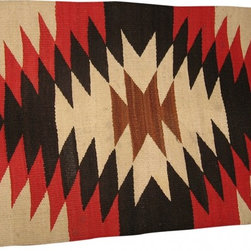 """Small Navajo sampler - Small Navajo Sampler, circa 1940, this can be used as a rug for a small area, or tabeltop as a runner, 25""""x""""36"""", it is Black/Red/cream/Brown, geometric design, 100% wool, it has two very slight damages on one end, in two places, where the weaving is loose in an area of about 1 inche, you can zoom in on this to see for yourself. The price reflects the fact that it has a small damaged area"""
