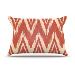 """Kess InHouse - Heidi Jennings """"Tribal Chevron Red"""" Tan Maroon Pillow Case, King (36"""" x 20"""") - This pillowcase, is just as bunny soft as the Kess InHouse duvet. It's made of microfiber velvety fleece. This machine washable fleece pillow case is the perfect accent to any duvet. Be your Bed's Curator."""